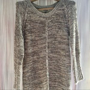 Long Brown Boho Sweater With Fringe Size Small
